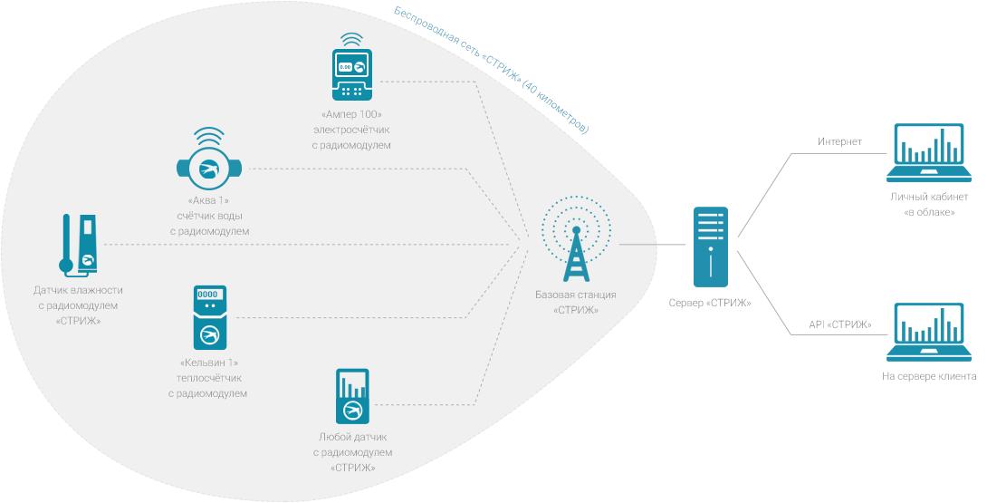 Схема работы lpwan-сети СТРИЖ