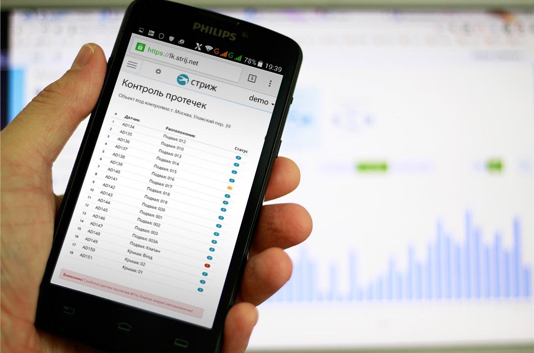 Веб-интерфейс для мониторинга датчиков протечки воды