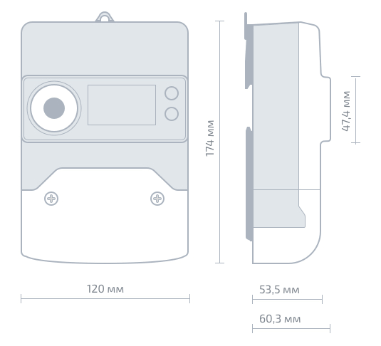 схема габаритных размеров счетчика электроэнергии СТРИЖ А1