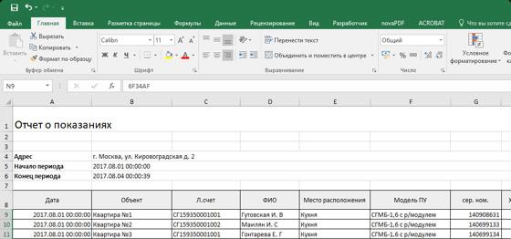 Выгрузка отчетов показаний счетчиков газа в Excel