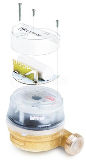 Устройство счетчика воды СВК 15-3-2 без крышки, схема сборки